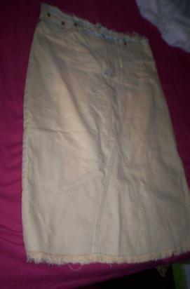 pollera jeans peuque cremat24 larg67 flecos use 1 vez