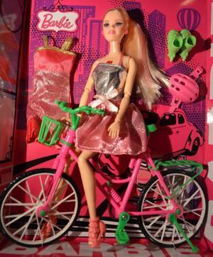 Barbie Ciclista con Luz y Sonido!! Incluye Accesorios