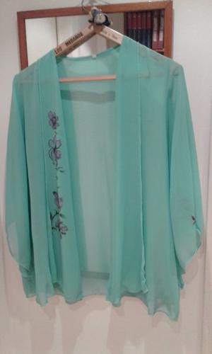 Blusa (casaca suelta) de gasa color turquesa claro