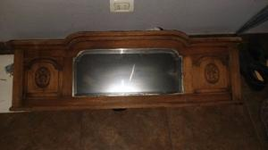 Espejo perchero antiguo con vidrio biselado