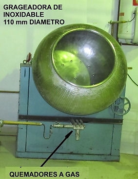 Máquina grageadora con bombo de acero inoxidable