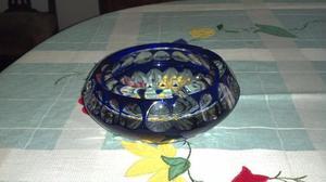 fino cenicero cristal azul de bohemia