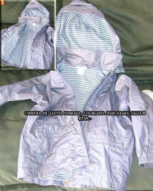 Campera Impermeable forrada con capucha color azul de marca