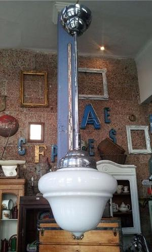Lámpara Colgante De Opalina Art Deco
