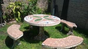 Mesa y bancos de madera para jardin rosario posot class - Mesa con bancos ...