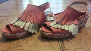 sandalias nena con flecos nro 32 nuevas