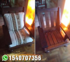 Juego de sillones de Algarrobo usado en perfecto estado