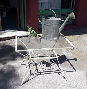 Mesa De Jardín De Hierro Forjado Con Tapa De Vidrio
