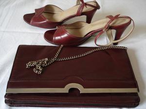 conjunto de cartera tipo sobre y zapatos n° 37