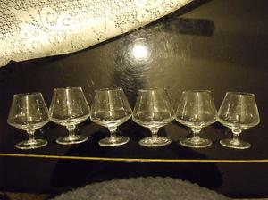 juego de 6 copas de vidrio para cognac