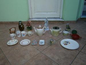 tetera de ceramica, 1 de loza y varios