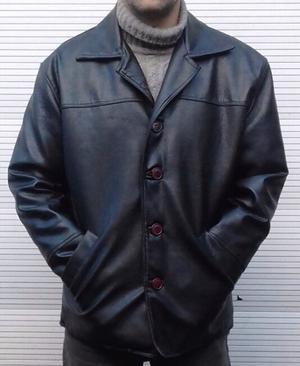 Campera de cuero tipo saco de vestir de hombre