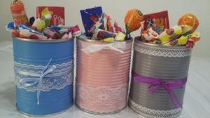 LATAS DECORADAS para candy bar, frascos, caminos de mesa,