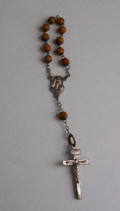 antiguo rosario decenario cuentas de madera, cruz metal
