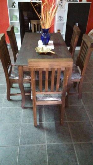 combo mesa de 160x0.80 mas 6 sillas tapizadas y madera $