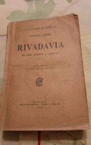 """LIBRO """"RIVADAVIA"""" SU OBRA POLITICA Y CULTURAL - ANDRÉ"""