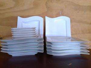 Platos cuadrados de porcelana. Diseño exlusivo.