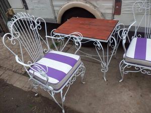 Juego De Jardin De Hierro Forjado Con Almohadones 3 sillones