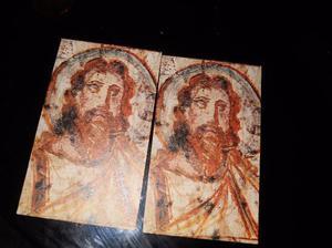 lote de 5 tarjetas religiosas antiguas en latin-antiguas