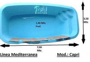 Pileta De Fibra Traful Modelo Capri, 7 X 3,50 X 1,40,