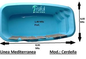 Pileta De Fibra Traful Modelo Cerdeña, 8 X 4 X 1,40 Mts,