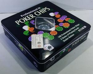 Set De Poker 100 Fichas Con 2 Mazos De Naipes Todo En Lata