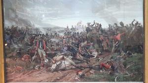 Antiguo Grabado color de la Batalla de Waterloo,