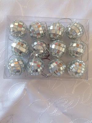 Bolas boliche espejadas x12 unidades 3cm