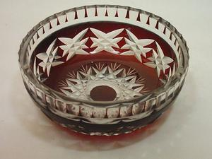 Bowl de Antiguo Cristal de Bohemia Rubí Tallado