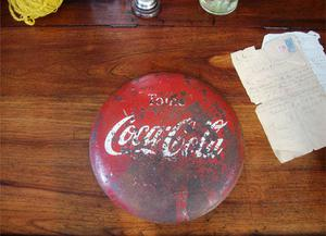 cartel de chapa de coca cola