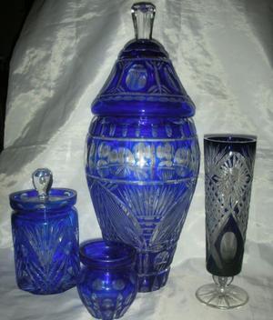 Coleccion 4 Jarrones /floreros cristal tallado ! Fees