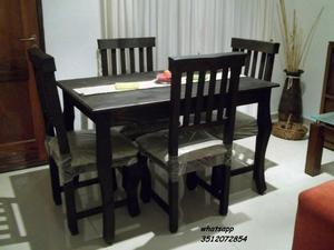 Comedor rustico 4 sillas !! Flete sin cargo