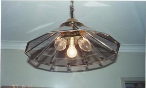 Lámpara de bronce vidrios biselados