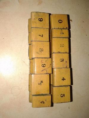 Sellos De Madera Y Goma Antiguo 12 unidades numeros