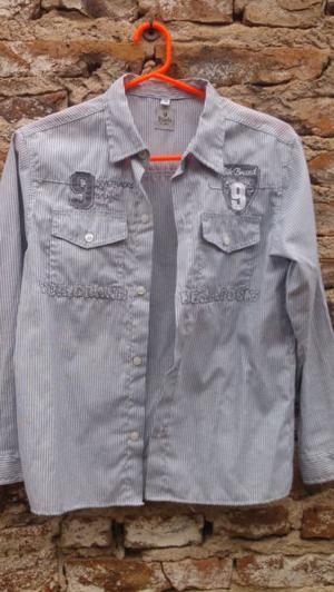 camisa rayada para varon manga larga con bordado