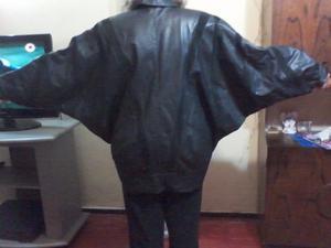 camperon de cuero autentico y pana negra talle XL