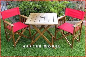 mesa de bar de madera con dos sillones $
