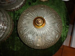 Antiguo plafón vidrio tallado y bronce. Antigua Saudade