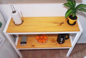 Desayunador barra auxiliar de cocina hierro y madera caño