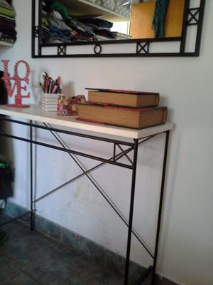 Mesa Hierro Forjado Madera Recibidor Dressoire Escritorio