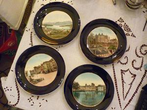 juego de platos antiguos de adorno sarreguemines