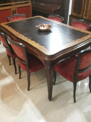 luis XV mesa con 6 silla-bargueño- bahiut con marmol