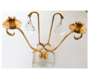 Antiguo candelabro doble de bronce y cristal