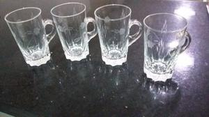 Juego De 4 Vasos Con Manija De Cristal Tallado