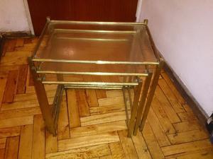 Juego de 3 mesas de bronce c/vidrio mesitas ratonas