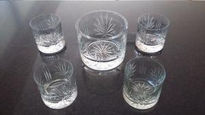 Juego de 4 Vasos de Whisky con Hielera de Cristal tallado