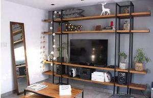 Estanteria industrial hierro y madera posot class for Estanteria estilo industrial