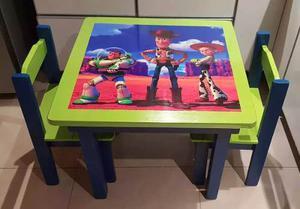 Mesa + 2 Sillas Infantiles,niños,chicos De Pino Pintadas