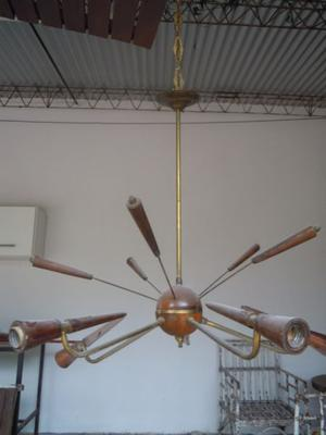 Araña bronce y madera