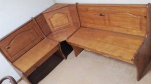 Mesa esquinero madera roble rinconero baulera posot class for Banco esquinero con mesa